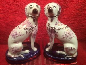 Figurines Antique Pair Of Staffordshire Dogs On Cobalt Blue Pillows Em299