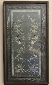 Antique Chinese Silk Forbidden Stitch Embroidery Birds Flowers Blue Grey Framed