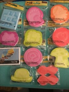 Bundle Mix Lot Of 11 Packages 3m Post it Notes Sticky Note Pads Multi Designs