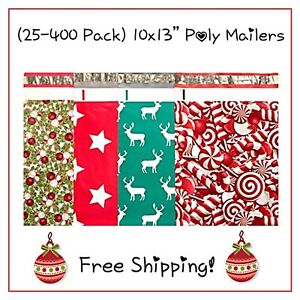 25 400 Pack 10x13 Holiday Variety Designer Poly Mailers free Shipping