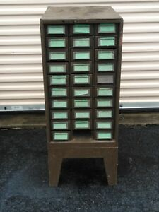 Vintage Addressograph 30 Drawer Industrial Parts Cabinet With Base Pickup Only