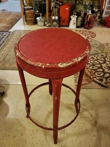 Vintage Red Metal Industrial Style Stool Vinyl Top