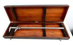 Vintage Starrett 122 Vernier Calipers 24in With Wood Case