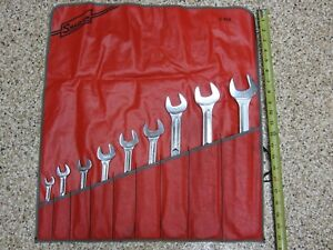 Snap On British Standard Whitworth 9 Piece Open End Wrench Set Large Sizes