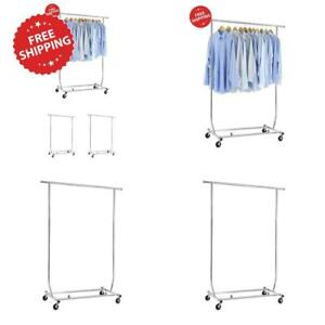 Commercial Grade Cloth Hanger Collapsible Rolling Rail Garment Rack Heavy Duty