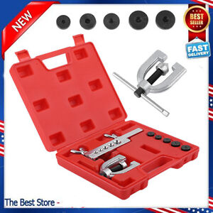 Double Flaring Brake Line Tool Kit Tubing Car Truck W Adapters Automotive Tools