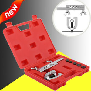 Sae Double Flare Brake Line Flaring Hand Tool Set Kit With Case New