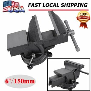 6 Bench Vise With Anvil Swivel Locking Base Table Top Clamp Heavy Duty Iron New