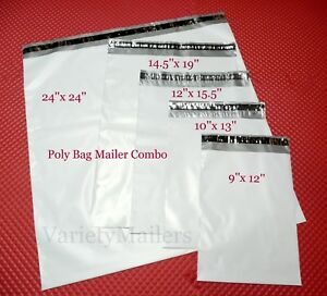 100 Poly Bag Envelope Assortment 5 Sizes Medium To Large Self sealing Mailers