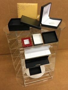 Acrylic Jewelry Display Case Stand 3 side Rotating Countertop Sunglasses Earring