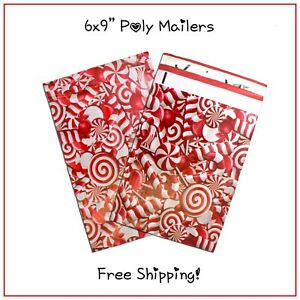25 400 Pack 6x9 Candy Cane Designer Poly Mailers free Shipping