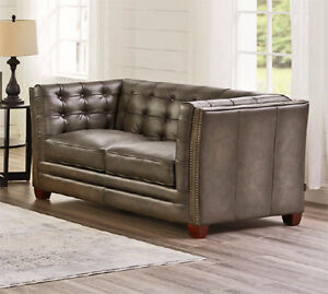 New Classic Mid Century Modern Chesterfield Love Seat In Gray Top Grain Leather