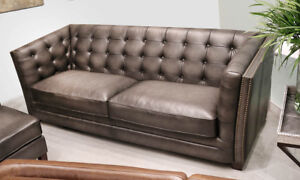 New Classic Modern Chesterfield Sofa In Gray Top Grain Leather Restoration Style
