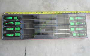 New Snap On 8 Pcs Green Instinct Handle Cabinet Type Screwdriver Set Sgdxl80bg