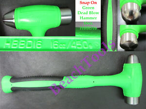 New Snap On Green Dead Blow Ball Peen Soft Grip Hammer 16oz Hbbd16 Made In Usa
