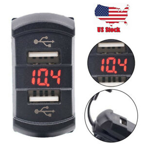 12v Dual Usb Charger Adapter Car Marine Boat Switch Power Socket Plug Outlet Usa