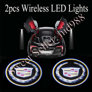 2 For Cadillac Wireless Led Car Door Logo Shadow Welcome Light Projector Us