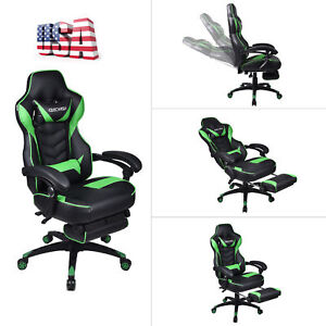 Executive Office Computer Gaming Chair Adjustable Racing Recliner Footrest Green