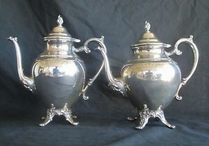 Wm Rogers Usa Coffee Tea Decanter Pitcher Set Silver Plate W Bags