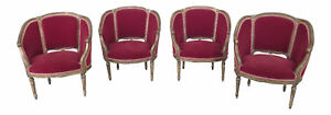 F46162ec 63ec Set Of 4 French Louis Xv Style Gold Red Velvet Parlor Chairs
