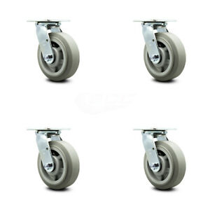 Scc 6 X 2 Thermoplastic Rubber Wheel Swivel Casters Set Of 4