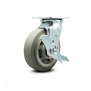 Scc 6 X 2 Thermoplastic Rubber Wheel Swivel Caster W brake 500lbs caster