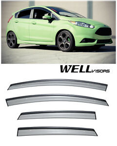 Wellvisors For 11 19 Ford Fiesta Hatchback Black Trim Side Window Rain Visors