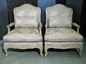 Pair Of High End Minton Spidell French Armchairs Silk Damask Fabric