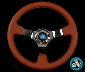 Rps 6 Bolt Brown Chrome Racing Steering Wheel 350mm Deep Dish