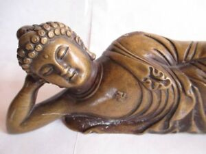 Sleeping Buddha Chinese Antiques Old Copper Handwork Large 11 Lg Free Ship