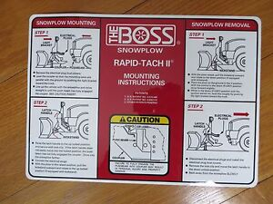 Boss Snow Plow Rt2 V Blade Replacement Decal For Mounting Instructions