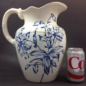 Magnificent Blue White Floral Large Victorian Transferware Wash Basin Pitcher