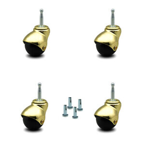 Scc Bright Brass Hooded 2 Swivel Ball Casters With 5 16 Grip Neck Stem Set 4