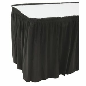 Snap Drape Flame retardant Shirred Black Polyester Table Skirting 29 h X 13 l