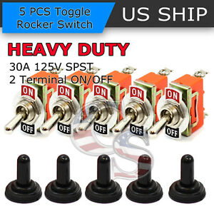 5x Toggle Switch On off Heavy Duty 30a 125v Spdt 2 Terminal Car Boat Waterproof