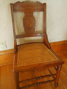 Antique American Eastlake Side Chair Walnut With Peg Cane Seat