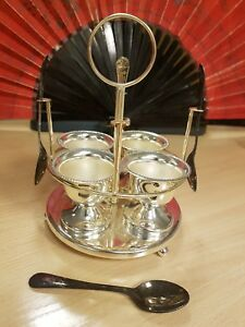 Vintage Silver Plated Epns 4 Egg Cups And 4 Spoons On Stand Cruet Set