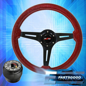 Metallic Red Wood Black Deep Dish Steering Wheel Hub Adapter For 88 91 Prelude