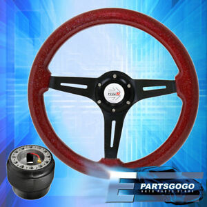 Metallic Red Wood Black Deep Dish Steering Wheel Hub Adapter For 92 96 Prelude