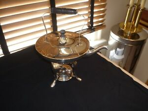 Art Deco Meriden Silver Plate Tea Coffee Pot Wood Handle With Stand And Burner