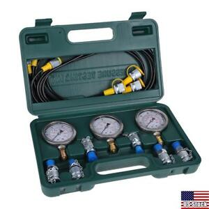 Excavator Hydraulic Pressure Test Kit Testing Hose Coupling Gauge Box Set