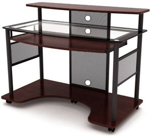 Workstation Desk Chrome Cylinder Glass Support Pull Out Keyboard Tray Casters