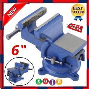 6 Bench Vise With Anvil Swivel Locking Base Table Top Clamp Heavy Duty Steel Ek