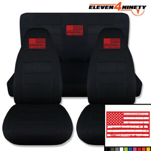 1987 1995 Jeep Wrangler Yj Solid Blk Seat Covers With Tattered Flag 9 Colors
