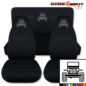 1987 1995 Jeep Wrangler Yj Solid Blk Seat Covers With Frontend Jp 9 Colors