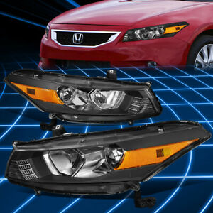For 08 12 Honda Accord Coupe Black amber Corner Projector Headlights Replacement