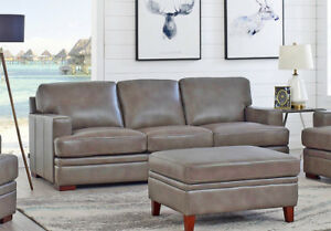 New Classic Modern Couch Sofa In Pewter Gray Top Grain Leather Restoration Style