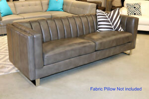 New Modern Classic Couch Sofa Top Grain Leather Channel Tufted Restoration Style
