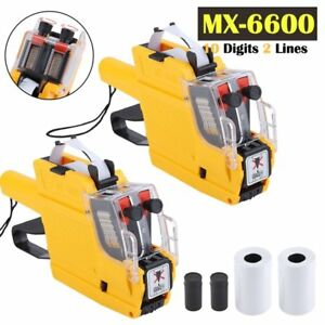 qty 2 Mx 6600 10 Digits 2 Lines Price Tag Gun Labeler 1 Ink 5 Rolls Tags Vi