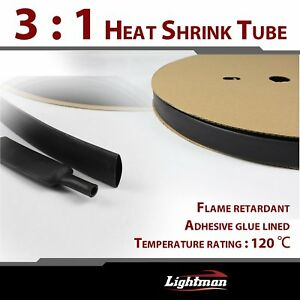 3 4 Heat Shrink Tubing Black Adhesive Glue Electrical Connection 3 1 Ratio 45ft